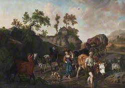 Landscape with an Old Herdsman and Young Market Girl Fording a Stream Followed by Two Horse-and-Carts with Grooms