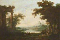 Classical Landscape with Shepherds near Overgrown Ruins