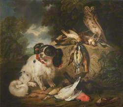 A King Charles Spaniel and an Owl with Dead Game Birds