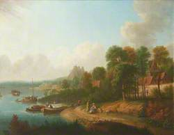River Scene with Boatmen and Barges