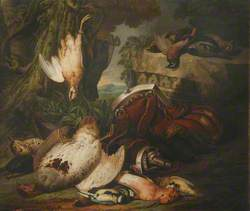 Still Life of Game Birds with a Powder Flask in Landscape