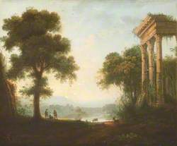 Classical Landscape with Shepherds near the Ruins of a Temple