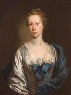 Portrait of an Unknown Lady in White with Blue Ribbons and Mantle