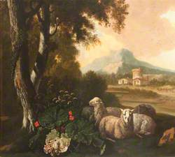 Three Sheep Resting with Buildings and a Farmer in the Background*