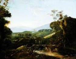 Mountainous Landscape with Figures by a Bridge
