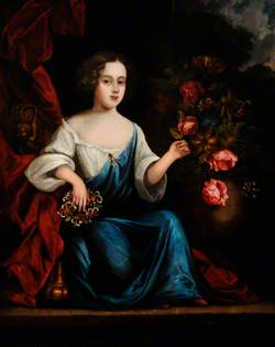 Portrait of an Unknown Girl in Blue, Touching Roses
