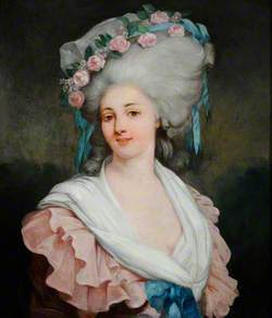 Portrait of a Lady in Pink with Rose Band on Her Hair
