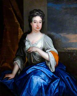 Portrait of an Unknown Lady with a Blue Mantle, Seated by an Opening to a Landscape