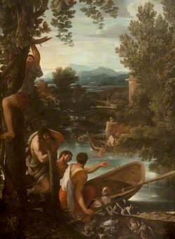 River Landscape with Fishermen and Sportsmen