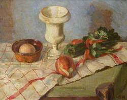 Still Life of a Vase and Vegetables
