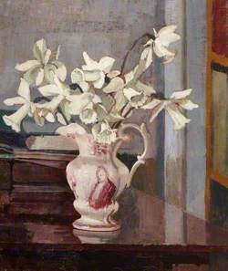 White Daffodils in a Ceramic Jug