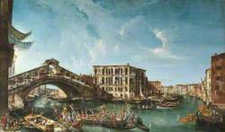 View of the Rialto Bridge and the Palazzo dei Camerlenghi, with the Festive Entry of the Patriarch Antonio Correr in 1737
