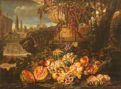 Still Life of Fruit with an Urn in a Garden