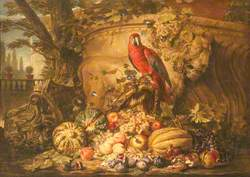 Still Life of Fruit with a Parrot in a Garden