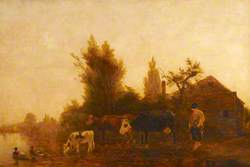 River Scene, Cows and Cow-Girl