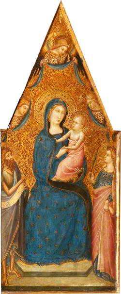 The Madonna and Child Enthroned with Three Angels, Saint John the Baptist and Saint Catherine