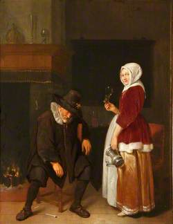 An Old Man Sleeping by a Fireside Attended by a Maidservant