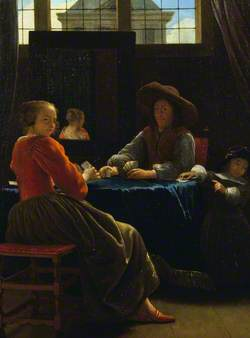 A Game of Cards, with the Woman Reflected in a Mirror