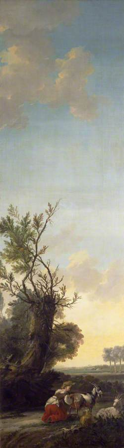 Landscape with a Young Woman Milking a Goat under a Pollarded Tree