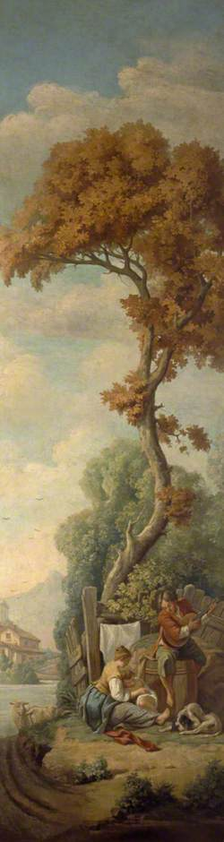 Landscape with a Young Man Playing a Guitar and a Woman with a Child beneath a Tree