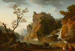 A River Landscape with a Waterfall, and a Castle and Aqueduct above
