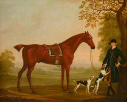 A Bay Horse in a Landscape, with his Groom and Two Hounds