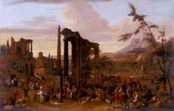 Market Scene Set amidst a Capriccio of Ruins