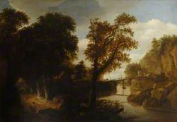 A Wooded Landscape with Two Men Hunting