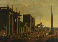 An Architectural Capriccio with Figures and an Obelisk