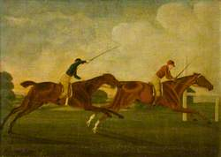 'Darnock' Beating 'Ledongheds' for the King's Plate at Newmarket