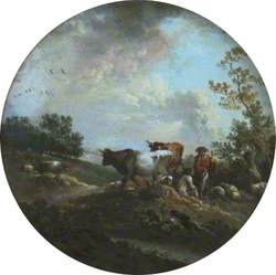 Landscape with Cattle, Sheep and Peasants under Trees
