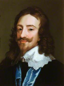 Charles I in a White Lace Collar and a Blue Sash
