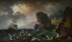 A Rocky Coast with Survivors Being Retrieved from a Wreck
