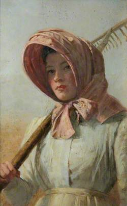 A Girl with a Rake over Her Shoulder