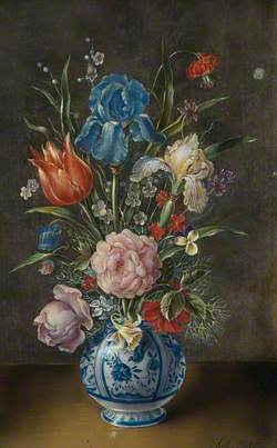 Spring Flowers in a Delft Vase: Iris, Roses and a Tulip