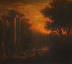 An Italianate Landscape with a Ruined Temple, Figures and Cattle