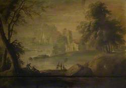 River Landscape with Buildings and Figures
