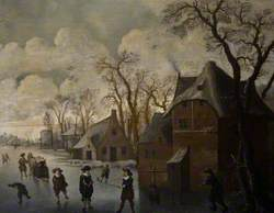 Winter Landscape with Figures on a River