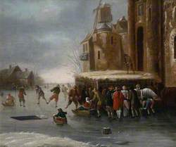 Winter Landscape with Skaters on a Canal