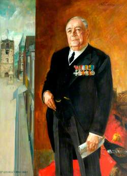 Alderman William Strafford Sanderson, MBE, Councillor (1911–1922), Alderman (1922–1967), Northumberland County Council (1919–1946), Mayor (1913, 1928, 1929, 1937 & 1961), Honorary Freeman (1946), on St George's Day, 1965