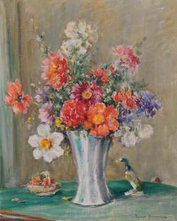 Still Life Study of Flowers in a Vase with a Beswick Duck