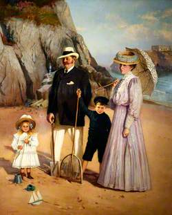 Frank B. Mason and Family on the Beach