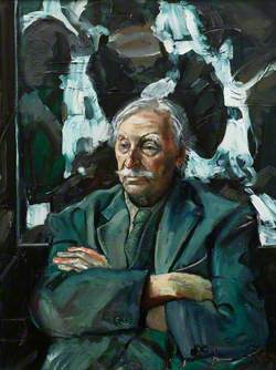 Sir Kyffin Williams in His Studio Seated in front of His Painting, 'Waterfall, Cwmorthin', 3rd–4th June, 2003