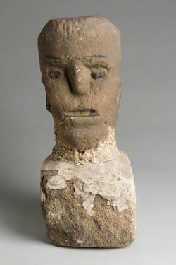 Carved Stone Head with Stone Plinth