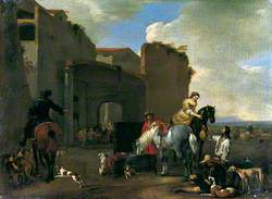 The Forecourt: Figures and Horses by Town Gate