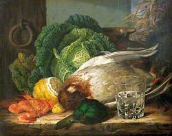 Still Life with Mallard, Prawns and Savoy