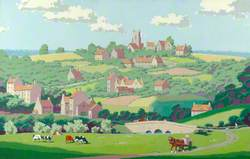 Cows Grazing with Church and Houses on a Hill in the Background, Somerset