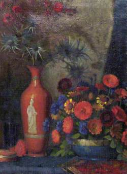 Still Life with Flowers in a Red Vase