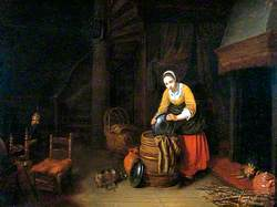 Interior with Young Woman Washing Pots