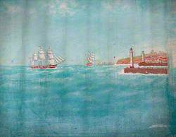 Two Sailing Ships off a Harbour Entrance